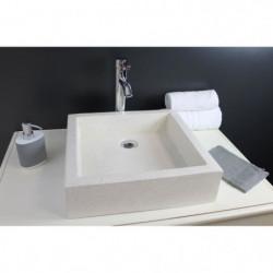 Vasque en terrazzo Timbre 40x40cm ton pierre