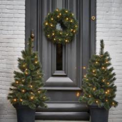 Lot de 2 sapins de Noël Glendon + 1 couronne - LED