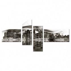 Tableau multi panneaux Urbain Oulu 140x70 cm noir et blanc