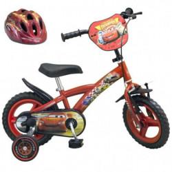 """CARS Vélo 12"""" + Casque - Enfant - Rouge et noir"""