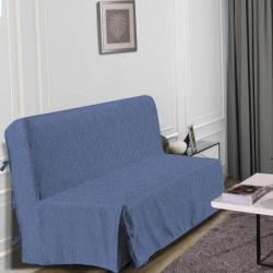 HOMETREND Housse de BZ Graphite - 140 x 200 cm - Bleu
