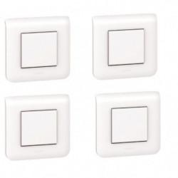 LEGRAND Lot de 4 interrupteurs Mosaic avec plaque blanc