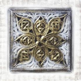 Toile peinte relief carreaux de ciment - Fleur cadre doré
