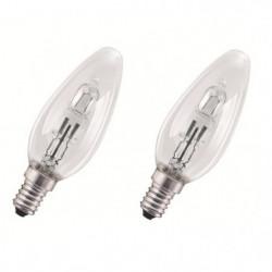OSRAM-Lot de 2 Ampoules Halogene Eco Flamme E14 Ø3,5cm 2800K