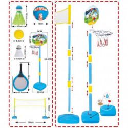 MGM 2 raquettes de badminton + 2 volants + filet + balles de