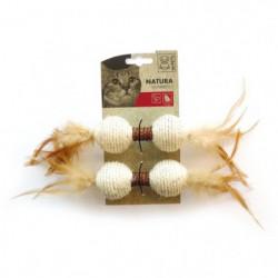 MPETS Haltere avec plumes Natura - Jouet pour chat- Couleur