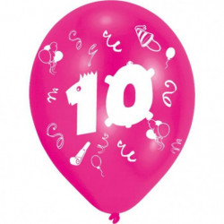 Lot de 8 Ballons - Latex - Nombre 10 - Imprimé 2 faces