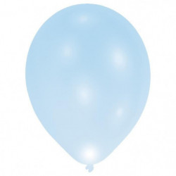 Lot de 7 Ballons avec LED - Latex - 27,5 cm - Bleu
