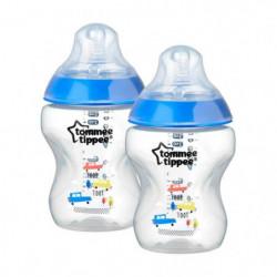 TOMMEE TIPPEE 2 Biberons CTN 260 ml Bleu