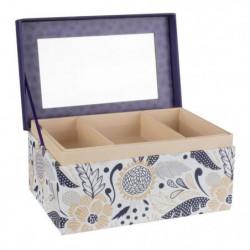 Boite a bijoux rectangle - Carton - 18,5 x 12 cm - Violet