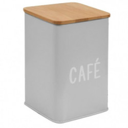 FRANDIS Boîte a café en métal et bois - 9,5 x 9,5 x 14 cm -