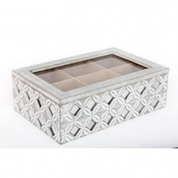 Boîte a thé géo avec strass - 24 x 15 cm - Gris