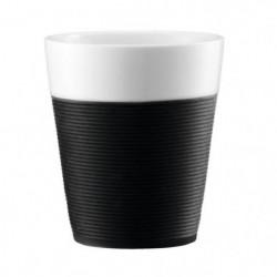 BODUM BISTRO Set 2 mugs en porcelaine avec bande silicone 0,