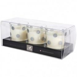 LE CHAT Coffret de 3 bougies parfumées - 19,5x7,5 cm - Décor