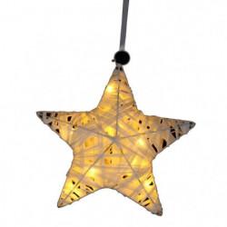 Suspension de Noël étoile en Raphia - 10 LED - 40 cm - Blanc
