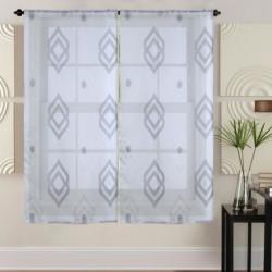 Paire de vitrages 60x120 cm Gris avec motifs