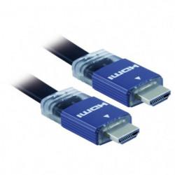 APM 590453 Câble HDMI Mâle / Mâle 1.4 Plat - Plugs Bleus or
