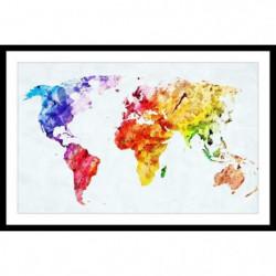 WORLD Affiche encadrée 60x40cm - Carte du monde colorée
