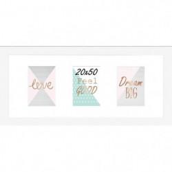 Cadre multivue - 3 vues - MDF - 20x50 cm - Blanc mat