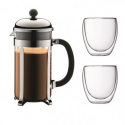BODUM CHAMBORD Set cafetiere a piston - 8 tasses -  1L - Gri