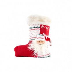 Chaussette de Noël en tissu - 30 x 45 cm - Blanc