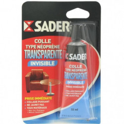 SADER Tube colle contact néoprene - Translucide - 55 ml