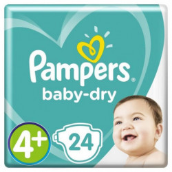 Pampers Baby-Dry Taille 4+, 10-15 kg - 24 Couches