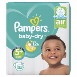 Pampers Baby-Dry Taille 5+, 12-17 kg - 35 Couches