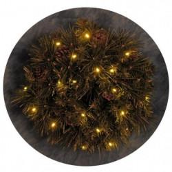 Couronne de Noël lumineuse décorée 20 LEDs - Ø 40 cm - Blanc