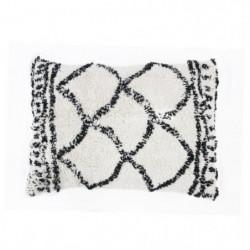Coussin berbere Losange - 30 x 50 cm - Blanc naturel et noir