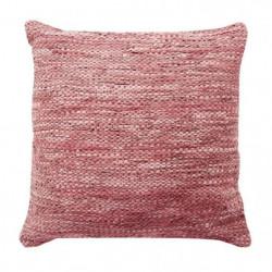 Coussin en cuir tressé Skin - 45 x 45 cm - Rose poudre