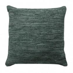 Coussin en cuir tressé Skin - 45 x 45 cm - Bleu gris
