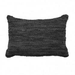 Coussin en cuir tressé Skin - 40 x 60 cm - Noir