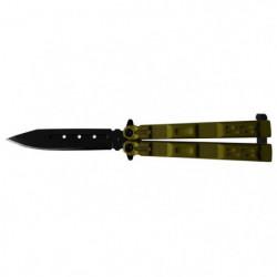 VIRGINIA Couteau papillon VB4007 - Lame perforée - Noir