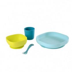 BEABA Set vaisselle silicone 4 pieces - blue