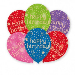 AMSCAN Lot de 6 ballons en latex imprimé Happy Birthday - 27