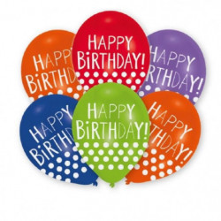 AMSCAN Lot de 6 ballons en latex imprimé Happy Birthday Dots