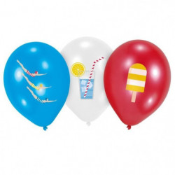 AMSCAN Lot de 6 Ballons Summer Stories en latex 27,5 cm 11""
