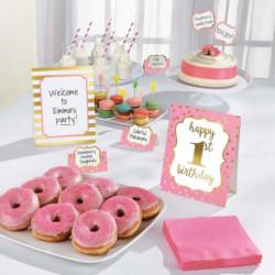 AMSCAN Kit de décoration Buffet 1st Birthday 12 pieces Rose