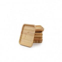 YONG Set de 6 sous-verre - 9x9 cm - Bambou