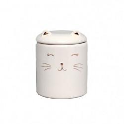 Pot a coton chat - 10 x 12 cm - Blanc & doré