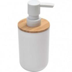 Distributeur a savon - Plastique / bambou - H16 x Ø7,2 cm -