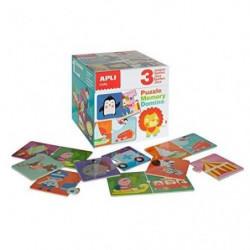 APLI Boîte de 3 jeux Mémory - Domino - Puzzle