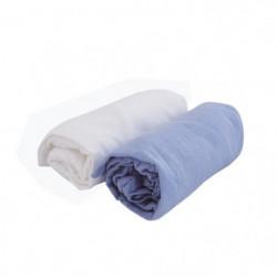 DOUX NID Lot de 2 draps housse Blanc/ciel 70x140 cm