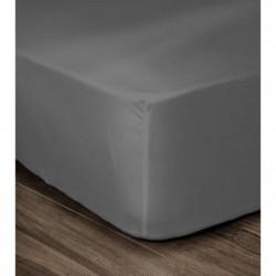 LOVELY HOME Drap Housse 100% coton 180x200x25 cm - Gris fonc