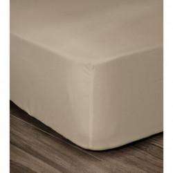 LOVELY HOME Drap Housse 100% coton 180x200x25 cm - Beige