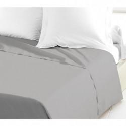 LOVELY HOME Drap Plat 100% coton 240x300 cm gris clair