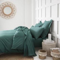 TODAY Drap plat 100% coton - 240x300 cm - Vert émeraude