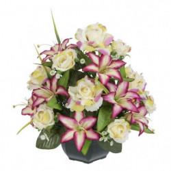 UNE FLEUR EN SOIE Coupe roses et lys - 37 cm