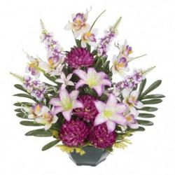 UNE FLEUR EN SOIE Fronton chrysanthemes, lys, orchidées et l